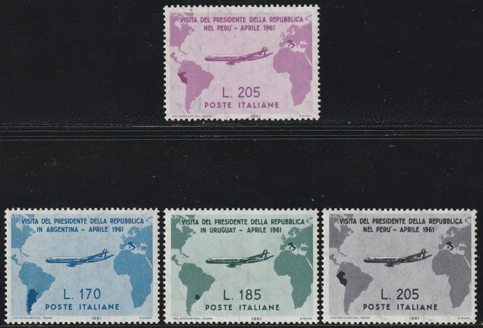 Italian republic 1961 - Visit of President Gronchi in South America, complete centred set with 205 l. pink lilac, intact and - Sassone S.201a - NN.918/21