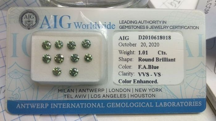 10 pcs Diamants - 1.01 ct - Brillant - FANCY APPLE BLUE - VS1, VVS1, VVS2