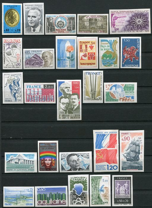 France 1975/1976 - Lot of 46 imperforate stamps - Maury Entre n° 1838 et 1890