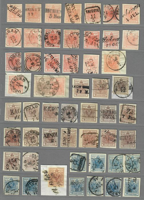 Austria 1850 - approx. 60 pcs., 1st issue, many specialties