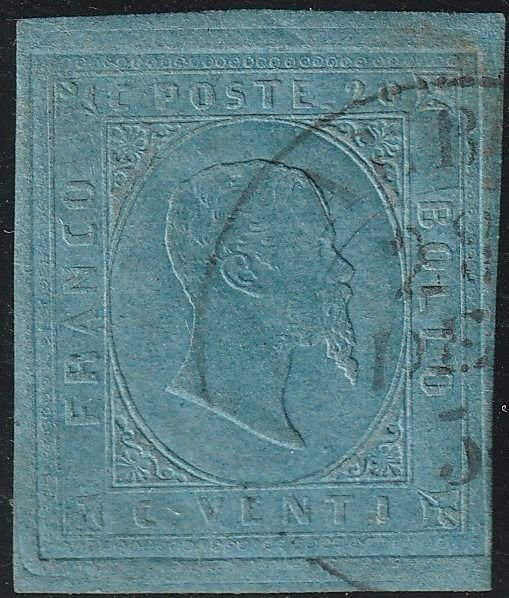 Italian Ancient States - Sardinia 1853 - 2nd issue 20 c. light blue with good margins, cancelled in Albertville - Sassone N.5