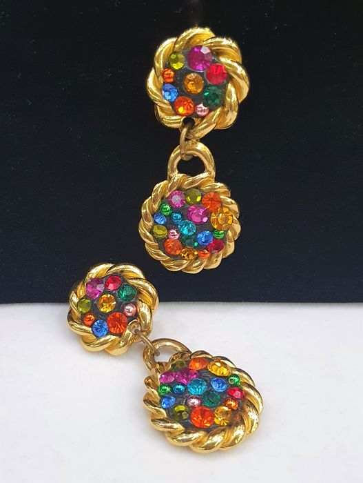 Givenchy - 18kt gold plated Multicolour crystal Earrings