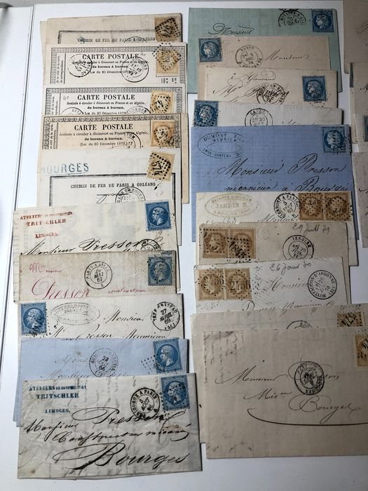 France 1863/1895 - 19th century lot of 30 stamped envelopes - Maury