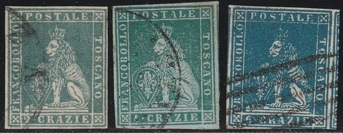 Italian Ancient States - Tuscany 1851/57 - Lot of 3 values in crazie with good margins, used - Sassone NN.5+6+15