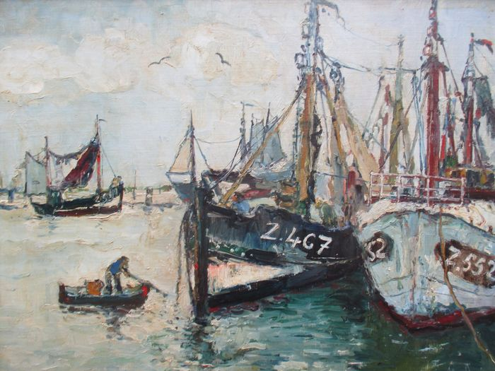 René Clarot (1882-1972) - In de haven van Zeebrugge