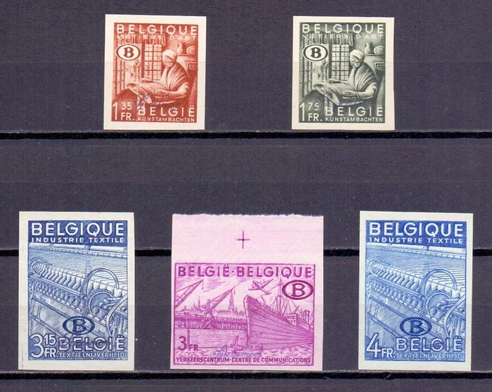 Belgium 1948 - Complete 'export' set imperforate, only two hundred copies made with the overprint 'specimen' - OBP / COB S42/S46