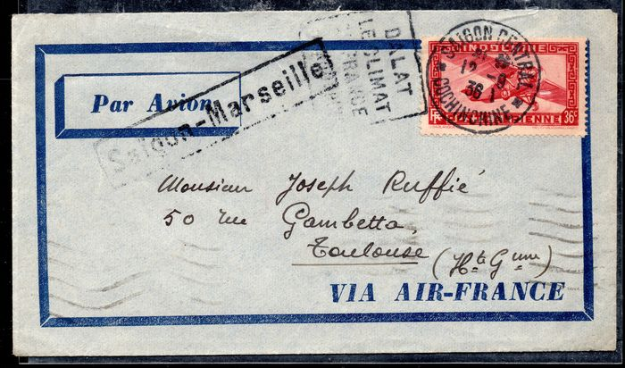 Indochina 1936 - 1936 Indochina airmail post LSC with Daguin FG Returned, not referenced! RRR