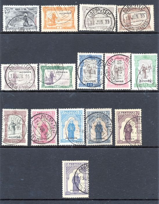 Azores 1895 - 7th Centenary of the Birth of Saint Anthony Complete Series. - Mundifil 73/87