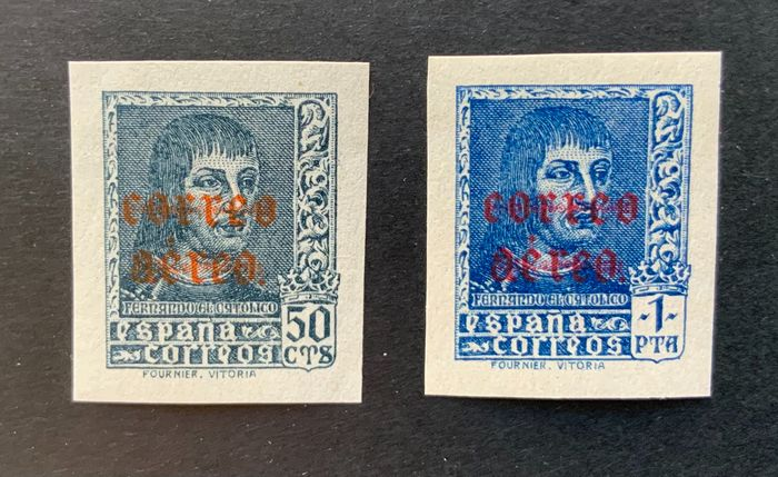 Spain 1938 - Ferdinand, airmail, imperforated - Edifil 845s/846s