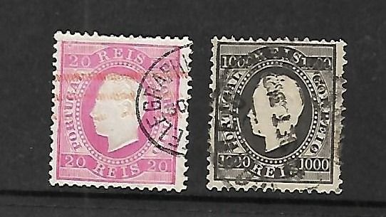 Portugal 1884 - D. Luís I right ribbon, new colour and value. Complete set. - Mundifil 66,67