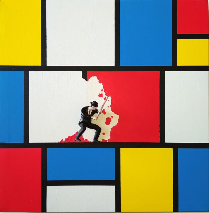 Dario Assisi - Magritte in the Mondrian world - Beyond the wall