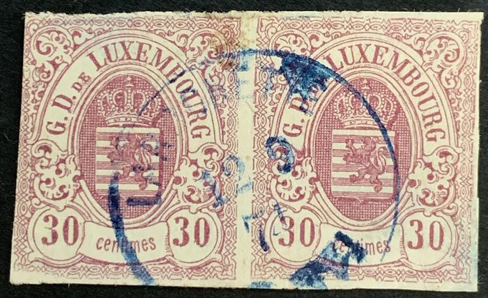 Luxembourg 1859 - National coat of arms, pair of the 30 centimes with central cancellation pair of the 30 centimes - Michel 9
