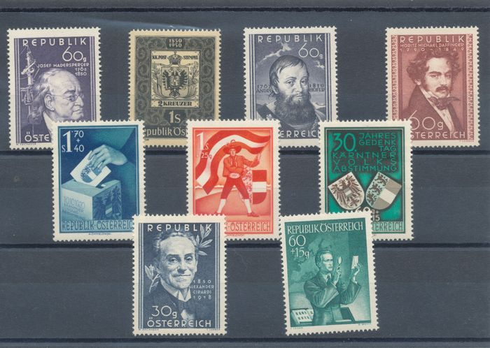 Austria 1949/1953 - Complete collection on small cards