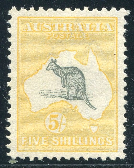 Australien 1913 - Kangaroo, 5s grey and yellow, watermark 2 - Stanley Gibbons 13