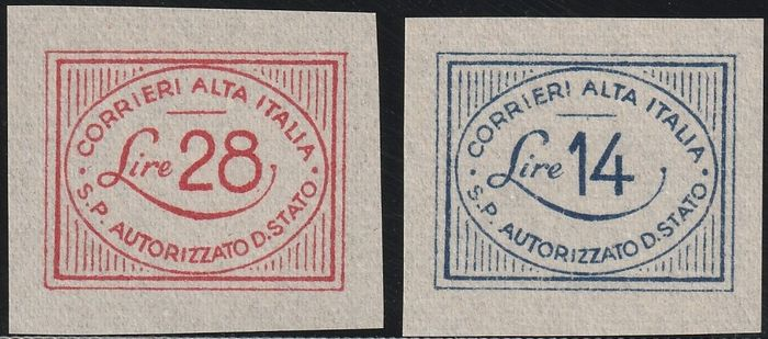 Lieutenancy - Authorized Private Services 1945 - CORALIT value in an oval, complete set with very good margins - Sassone S.3000 - NN.1/2