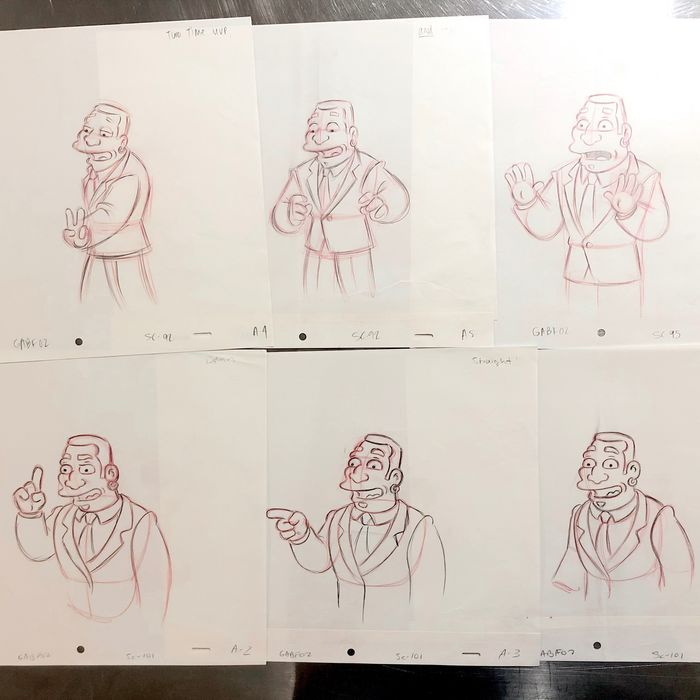 The Simpsons - X6 Originals Animation Drawings of D. Overstreet - EP08 / S16 - (2004)