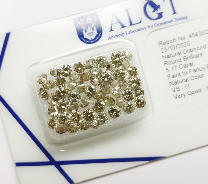 53 pcs Diamantes - 5.17 ct - Brillante redondo - Mixed Colors - VS-I1 - No Reserve Price