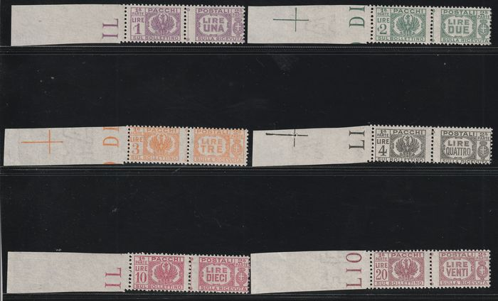Lieutenancy 1944 - Postal parcels complete set with intact margins on the left, 6 intact values - Sassone S.2106 - NN.60/65