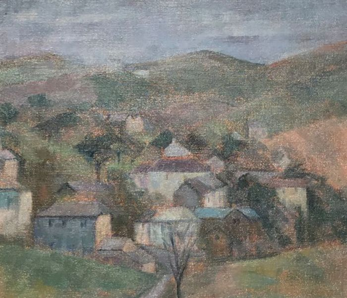 June Miles (1924-) - A view of Tregeseal, Cornwall
