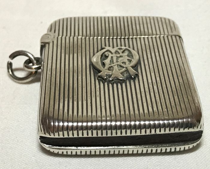 Antique Silver Vesta Case Match Striker - Silver - Europe - Early 20th century