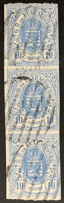 Luxembourg 1859 - vertical strip of 3 of the 10 centimes - Michel 6