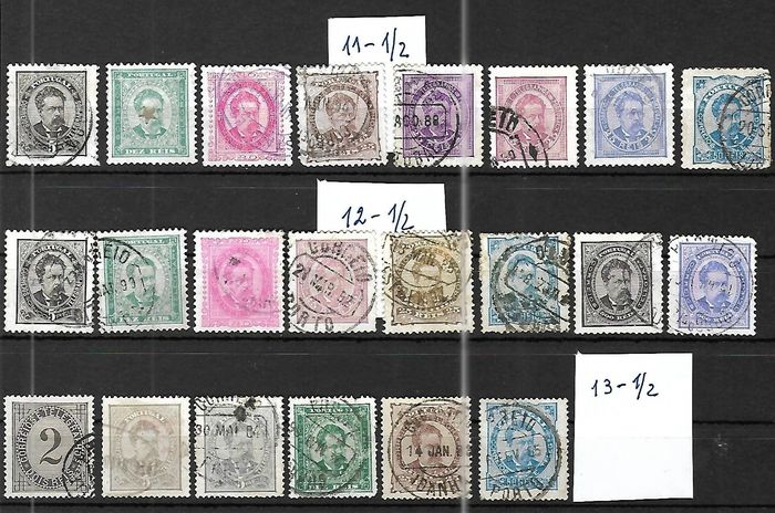 Portugal 1882/1884 - D. Luís for advanced collectors. Perforations 11 1/2, 12 1/2 and 13 1/2. - Mundifil 56 to 65