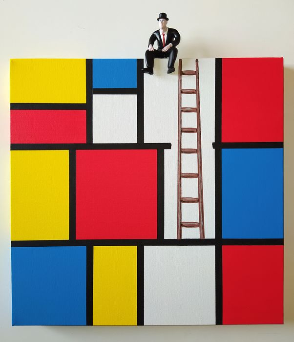 Dario Assisi - Magritte in the Mondrian world - The observer