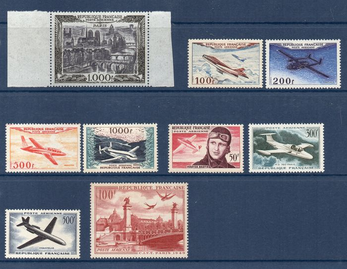 France 1949/1959 - Airmail - Maury 28/36