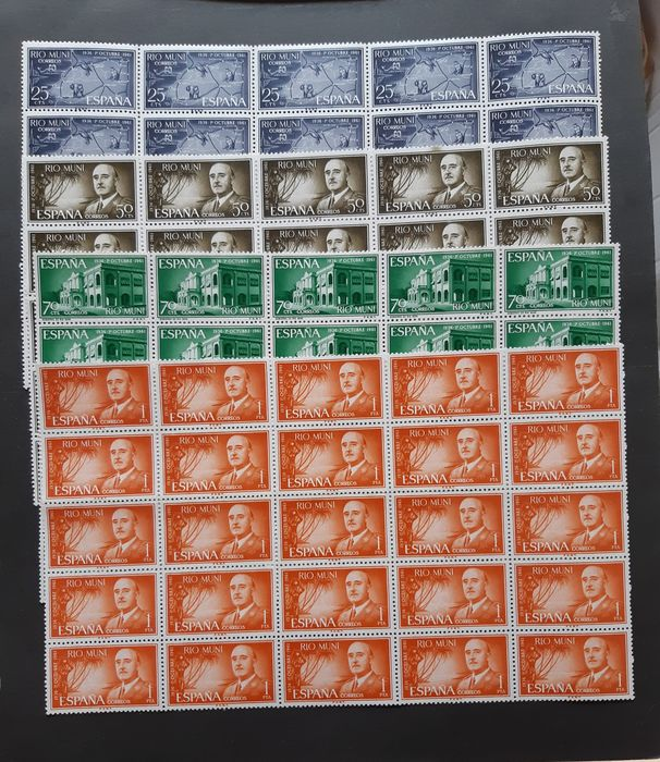 Spanish Colonies - Batch of sets of the second centennial in great blocks.