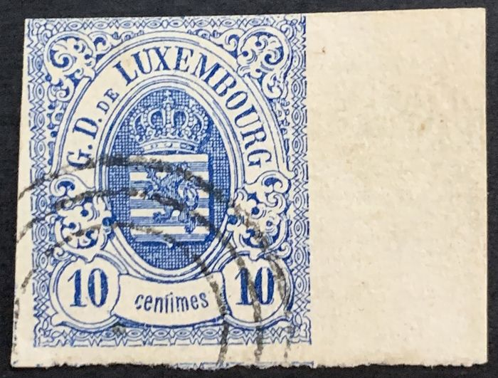 Luxembourg 1859 - National coat of arms 10 centimes with very wide right sheet margin - Michel 6