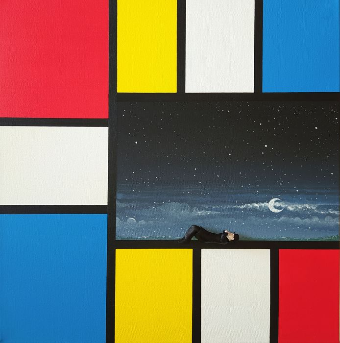 Dario Assisi - Magritte in the Mondrian world - The night observer
