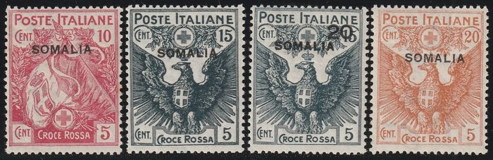 Italian Somalia 1916 - Red Cross complete set, centred and intact - Sassone S.5 - NN.19/22