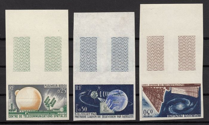 France 1962 - Complete series imperforate, Space Telecommunications - Yvert n° 1360/1362