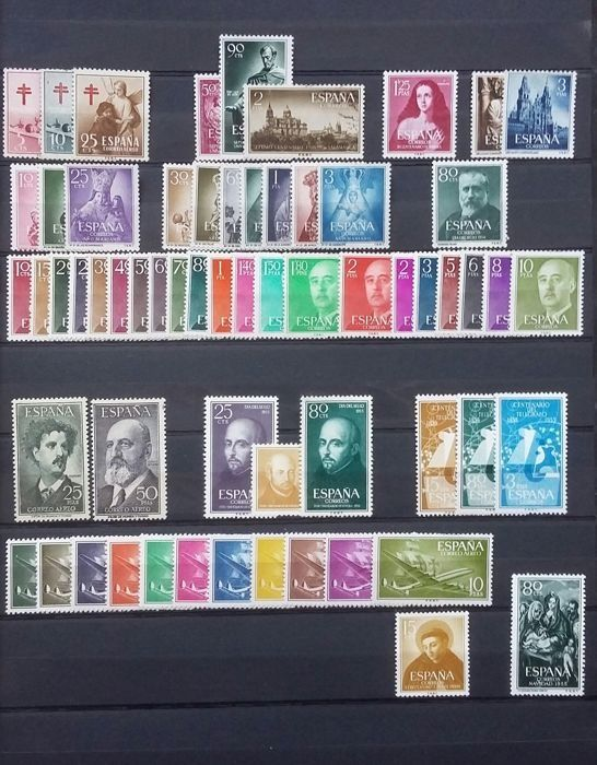 Spain 1953/1955 - Complete years without 1124/1125 - Edifil 1121/1184
