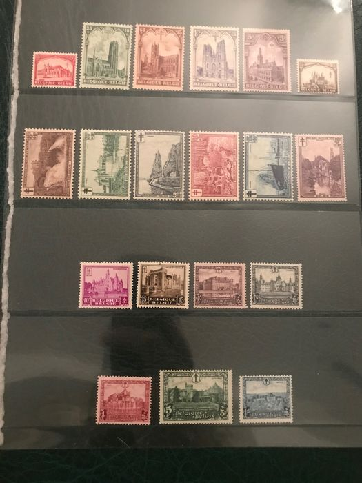Belgium 1928/1930 - Three issues with castles, belfry and landscapes - OBP / COB 267/272, 293/298 en 308/314