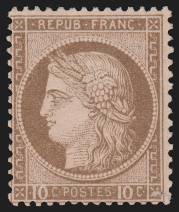 France 1875 - Ceres 10 cts brown on pink, mint* with slight trace of hinge - Yvert n° 54