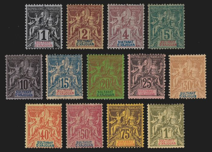 French Colony 1892 - Anjouan - full series, mint* with hinge. - Yvert n° 1/13