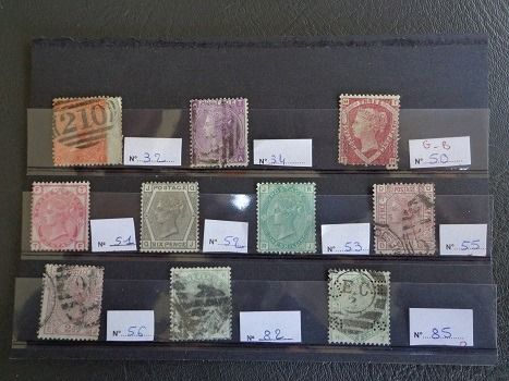 Great Britain - Collection of 10 classic stamps - Yvert 32/34/50/51/52/53/55/56/82 & 85