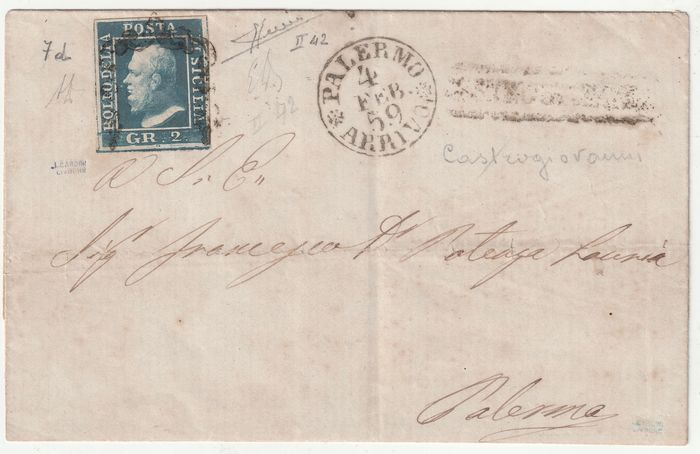 Italian Ancient States - Sicily 1859 - 2 gr. 2nd plate, ultramarine blue, with good margins, position 42 on letter from Castrogiovanni, rare and certified - Sassone N.7d