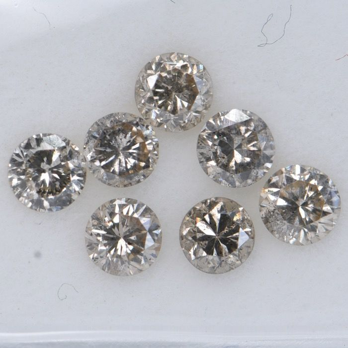 7 pcs Diamant - 1.00 ct - Brillant rond - Brown - SI2-I1     GWLAB certified    ** No Reserve Price **