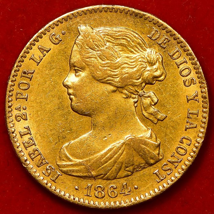Spanje. Isabel II. 100 Reales 1864 - 6 Pointed Star - Oro