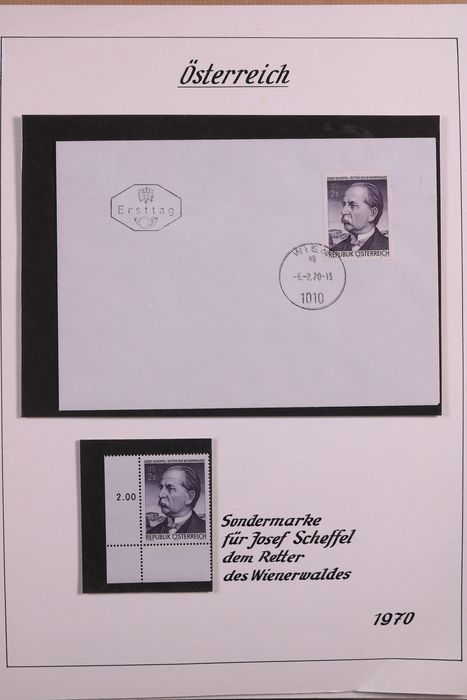 Austria 1966/1978 - Collection of FDCs and stamps in four albums