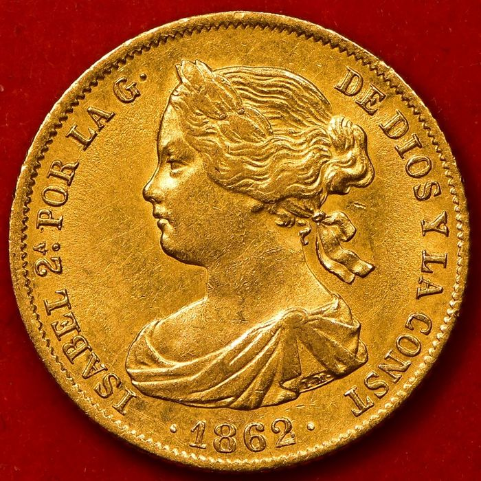 Spanje. Isabel II. 100 Reales 1862 - 6 Pointed Star - Oro