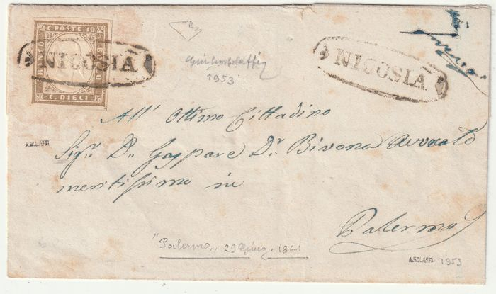 Italian Ancient States - Sicily 1861 - 10 c. Sardinia cancelled with oval of Nicosia Pt.R1 on envelope, certified rarity - Sassone N.14Cm
