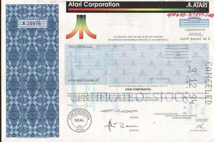 Atari, Atari Corporation - Stock Certificate