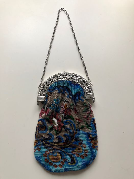 Antique beaded bag with silver bracket (1) - Silver - Nederlands ontwerp - Netherlands - Early 19th century