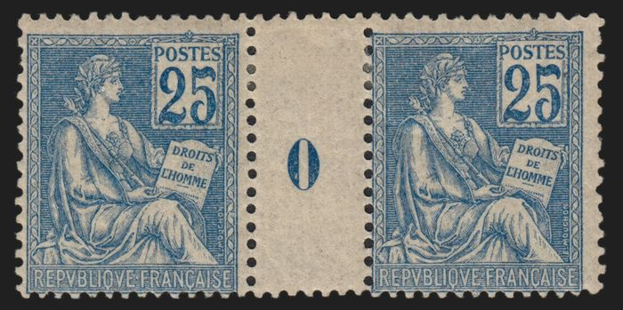 France 1900 - Mouchon, 25 centimes blue, type II, dated pair 0. - Yvert n° 118
