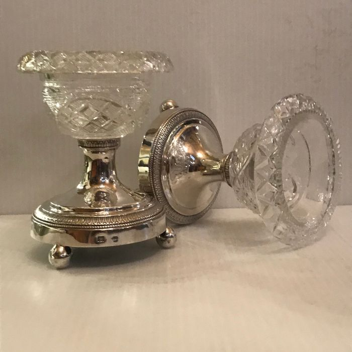Pair of salt shakers - silver and crystal - Belgium - First half 19th century