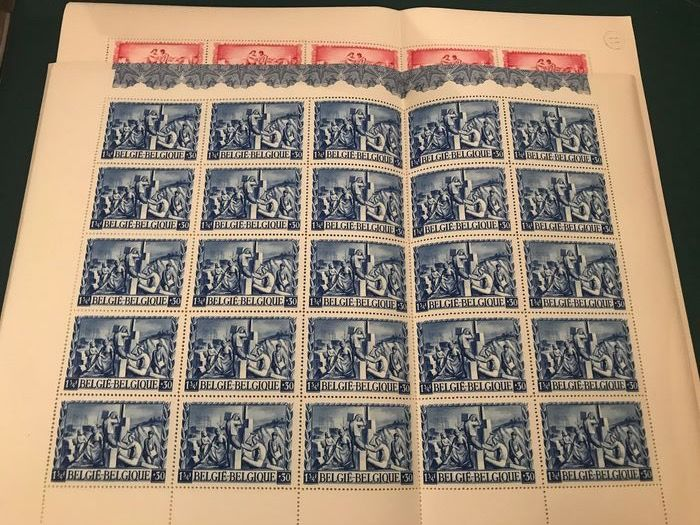Belgium 1945 - Affected in 6 sheets of 25 - OBP / COB 697/698