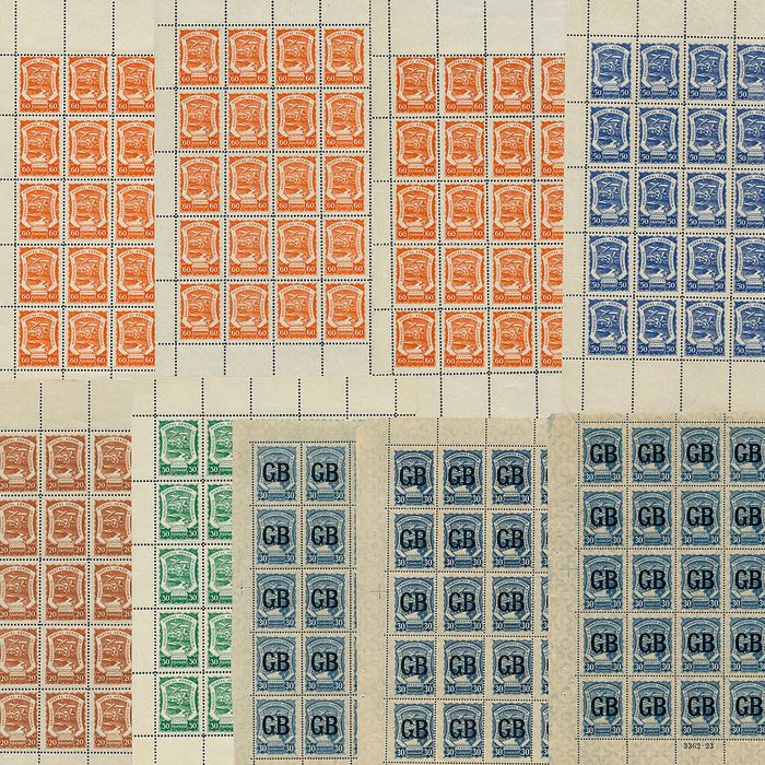 Colombia 1921 - Lot with 11 complete sheets of SCADTA (Sociedad Colombo Alemana de Transportes Aéreos) stamps as - Michel 13a (25), 14 (25), 15 (25), 16 (125), LA 618 (75)